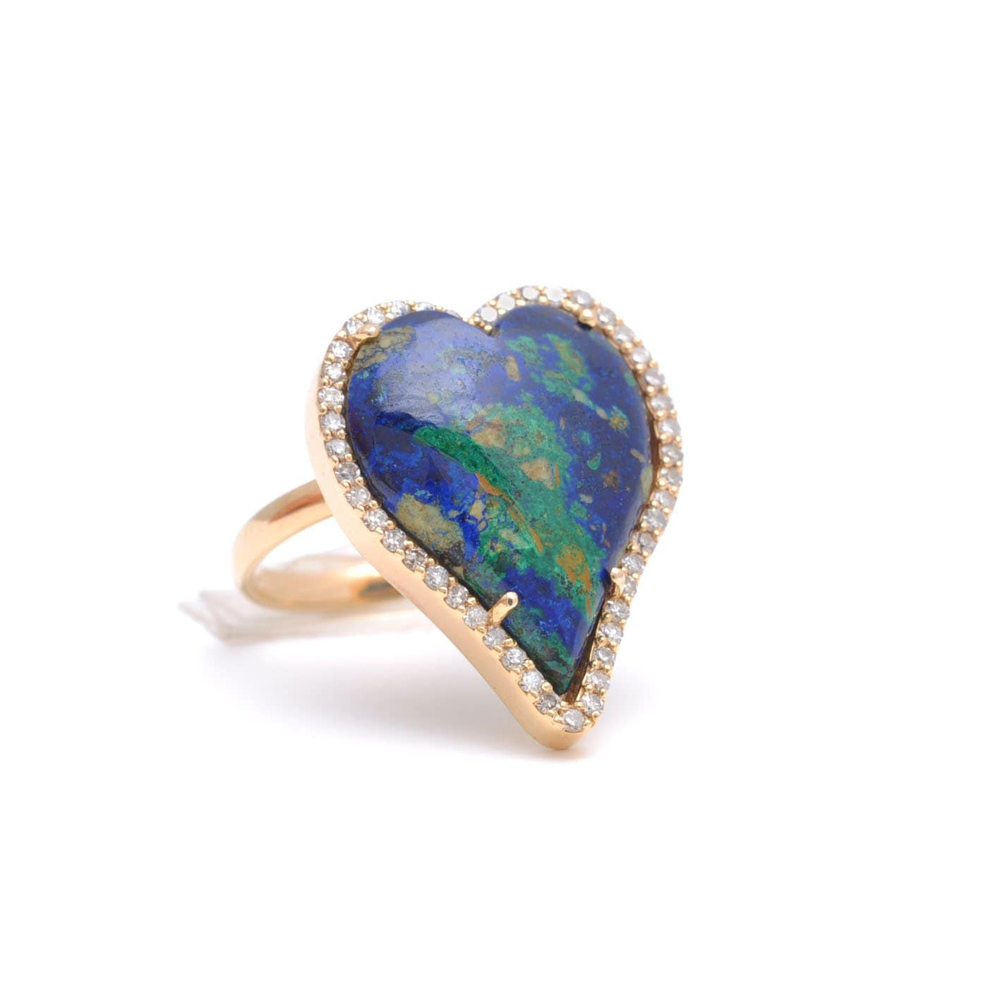 Azurite Diamond Heart Ring