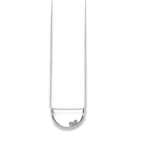 Double Diamond White Gold Sliding Arc Necklace