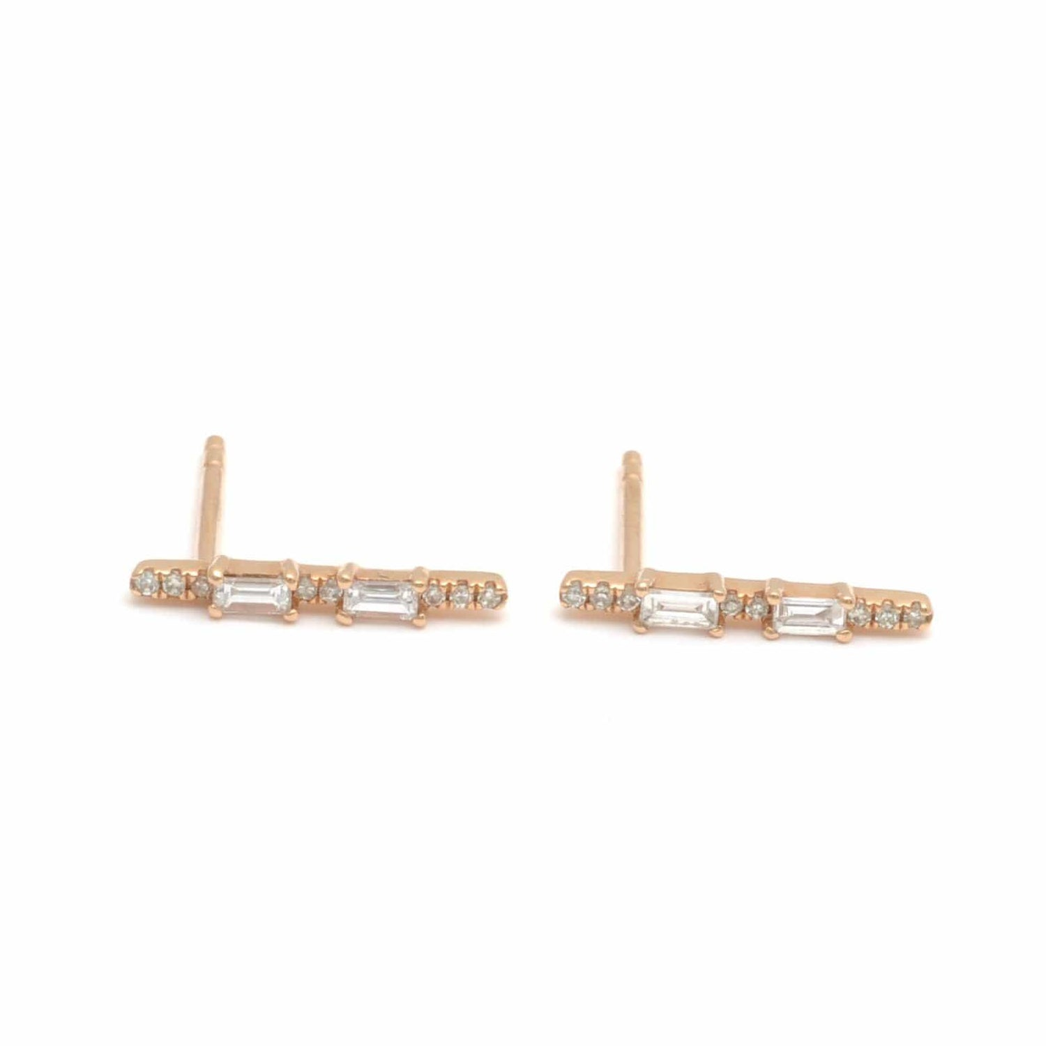 Diamond Baguette and Pave Bar Studs