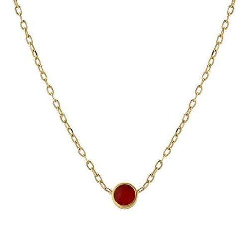 Mini Bindi Red Enamel Yellow Gold Pendant - Curated Los Angeles