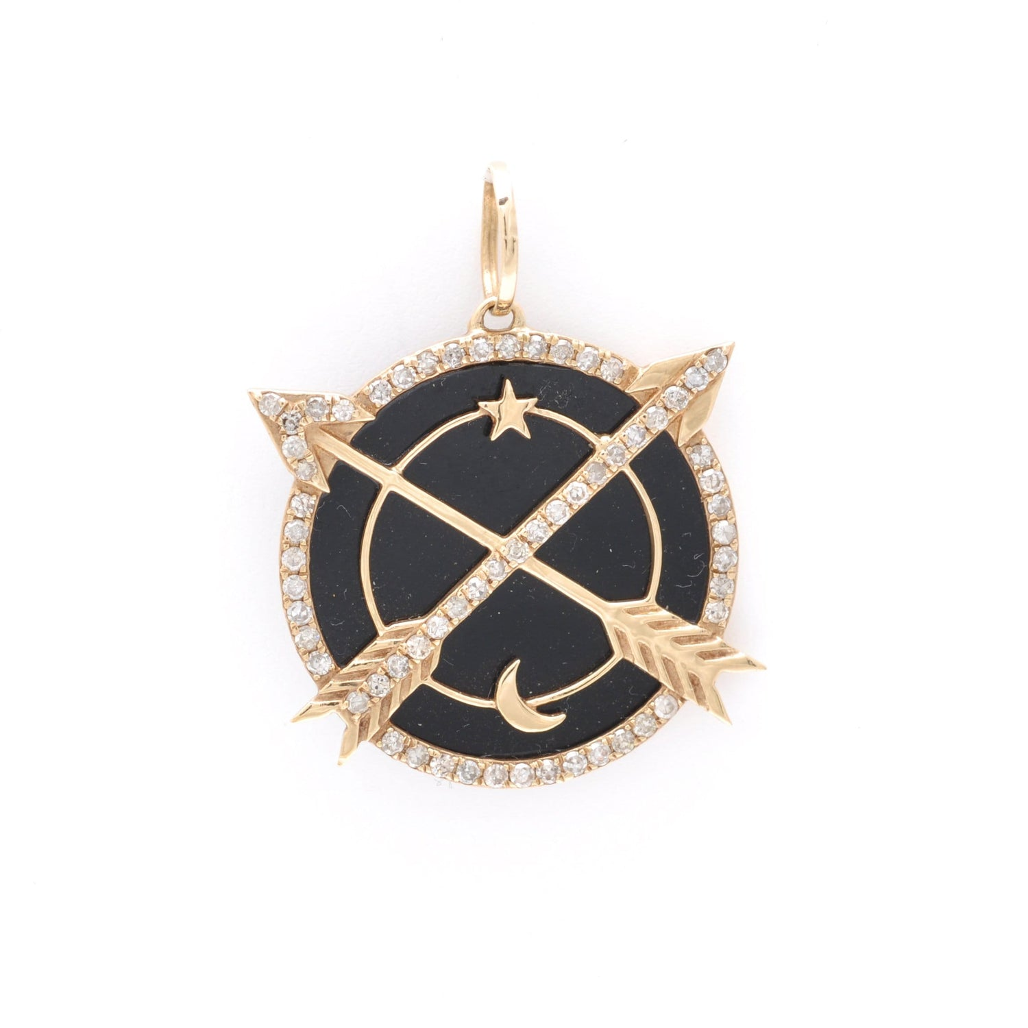 Crossed Arrows Black Enamel Medallion