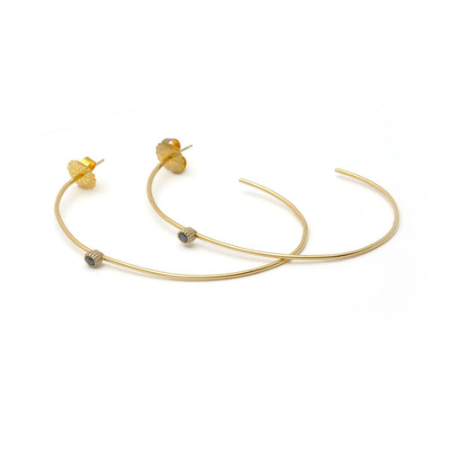 Black Diamond Extra Large Narrow Yellow Gold Hoops