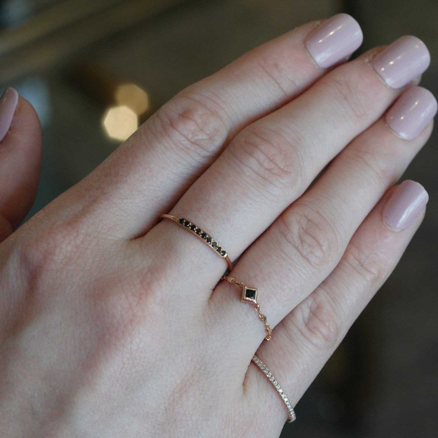 Princess Cut Black Diamond Rose Gold Chain Ring