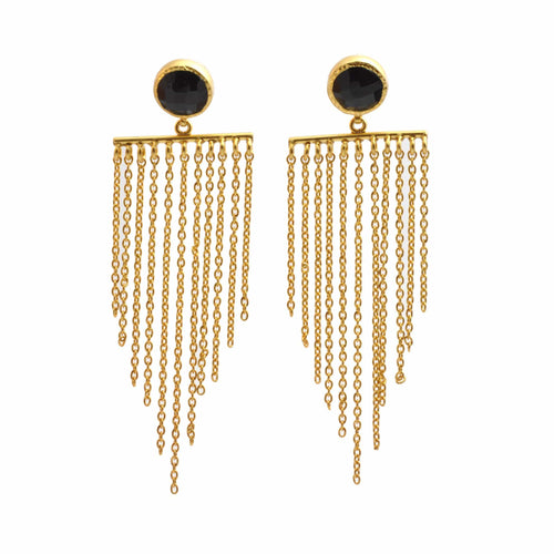 Black Onyx Chain Chandelier Earrings - Curated Los Angeles