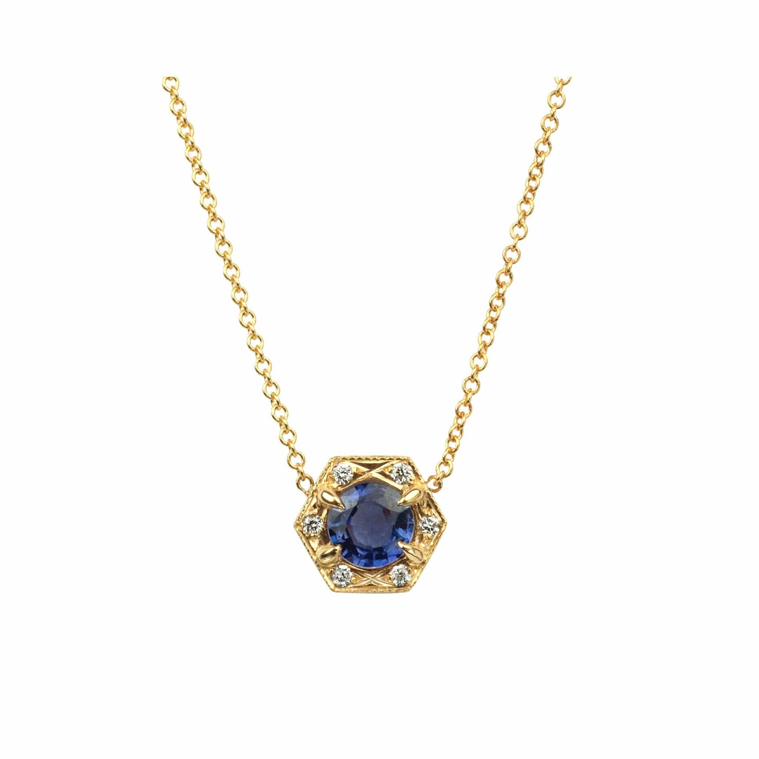 Blue Sapphire Hexagon Necklace