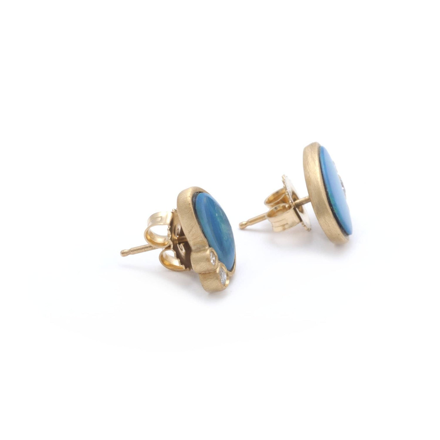 Opal Doublet Diamond Yellow Gold Stud Earrings - Curated Los Angeles