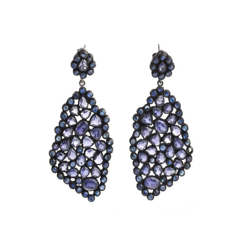Tanzanite Mosaic Black Rhodium Earrings - Curated Los Angeles