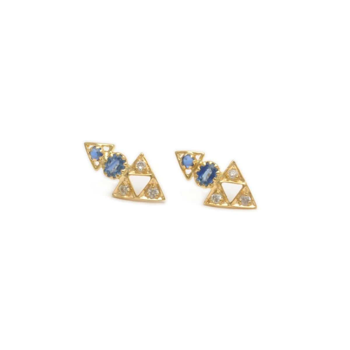 Sapphire Diamond cutout triangle yellow gold studs