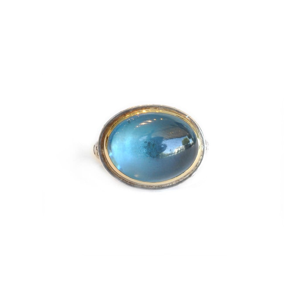Blue Topaz Cabochon Two-tone Cocktail Ring - Curated Los Angeles