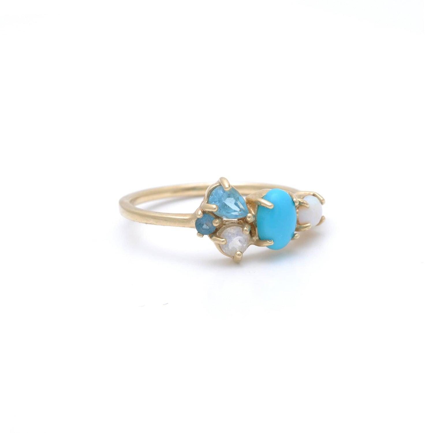 Blue Topaz Turquoise Opal Gold Ring