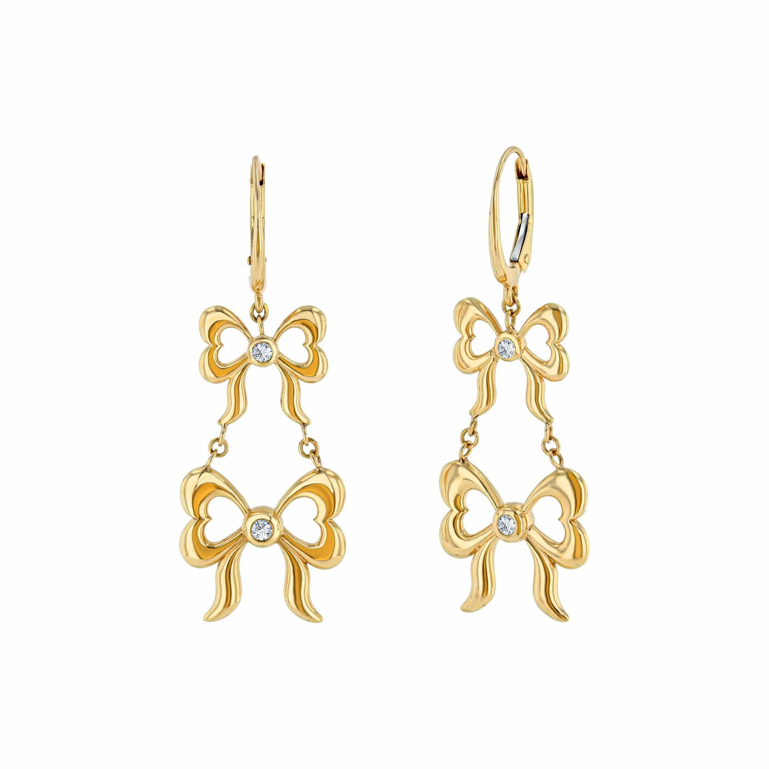 Diamond Double Bow 18k Yellow Gold Earrings Elizabeth Jane