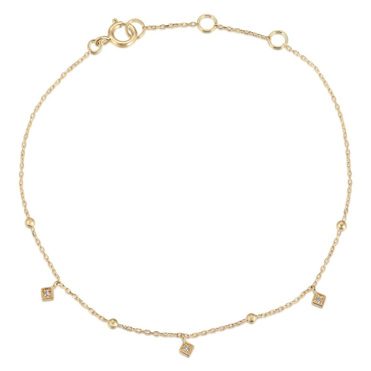3 Diamond Drop Gold Chain Bracelet