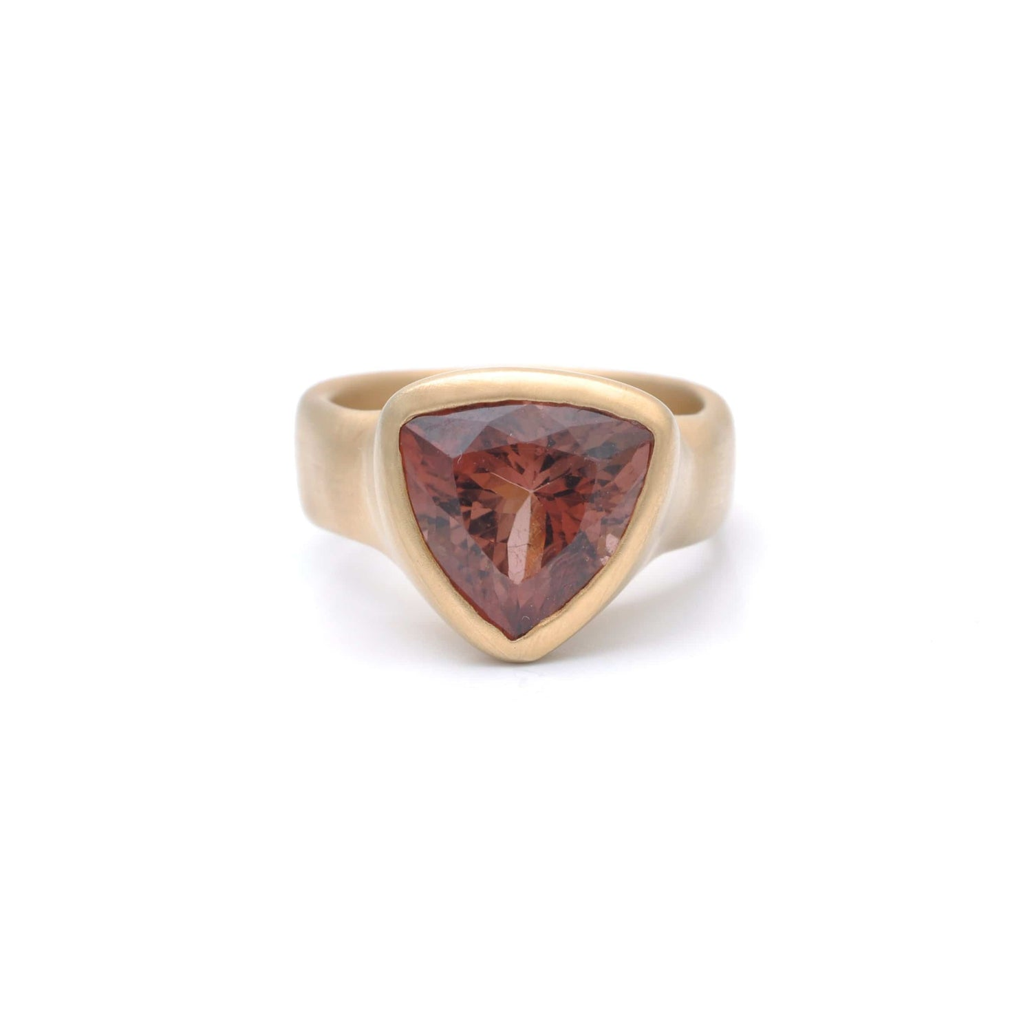 Trillion Cut Peachy Tourmaline Satin Gold Ring