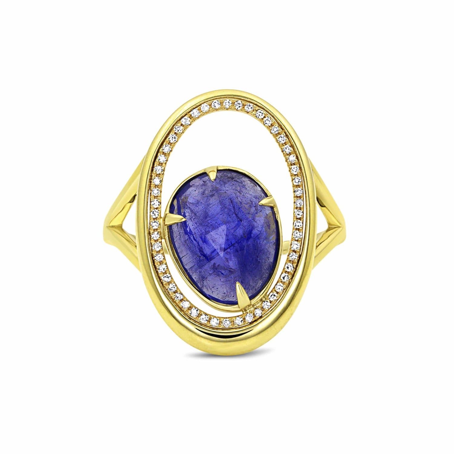Tanzanite Diamond Oval Yellow Gold Cocktail Ring