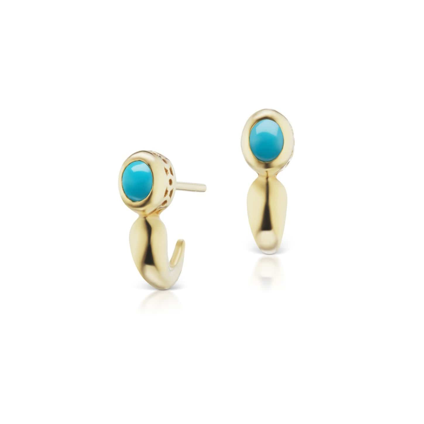 Turquoise Yellow Gold J- hoop Earrings