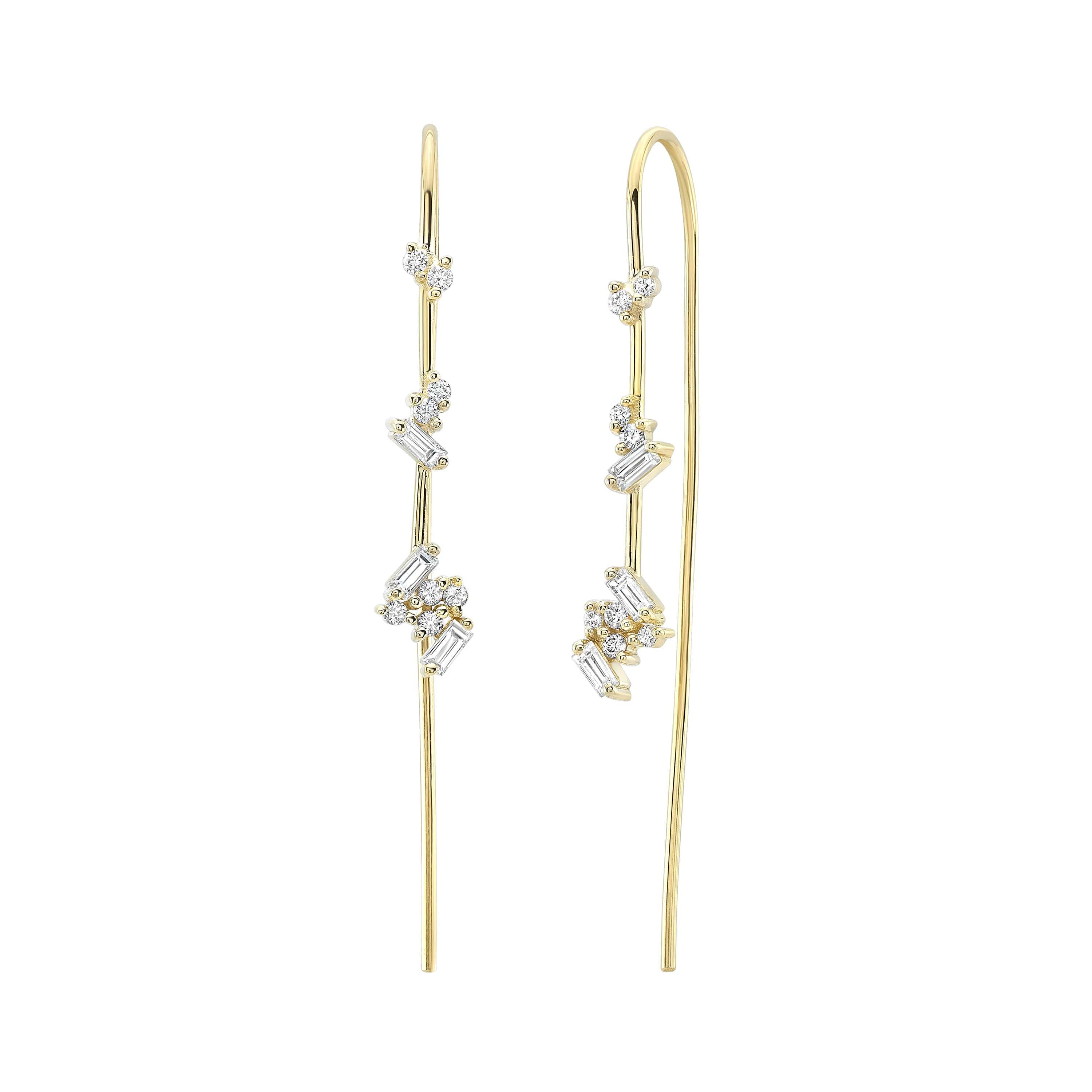 Diamond Cluster Gold Wire Threader Earrings