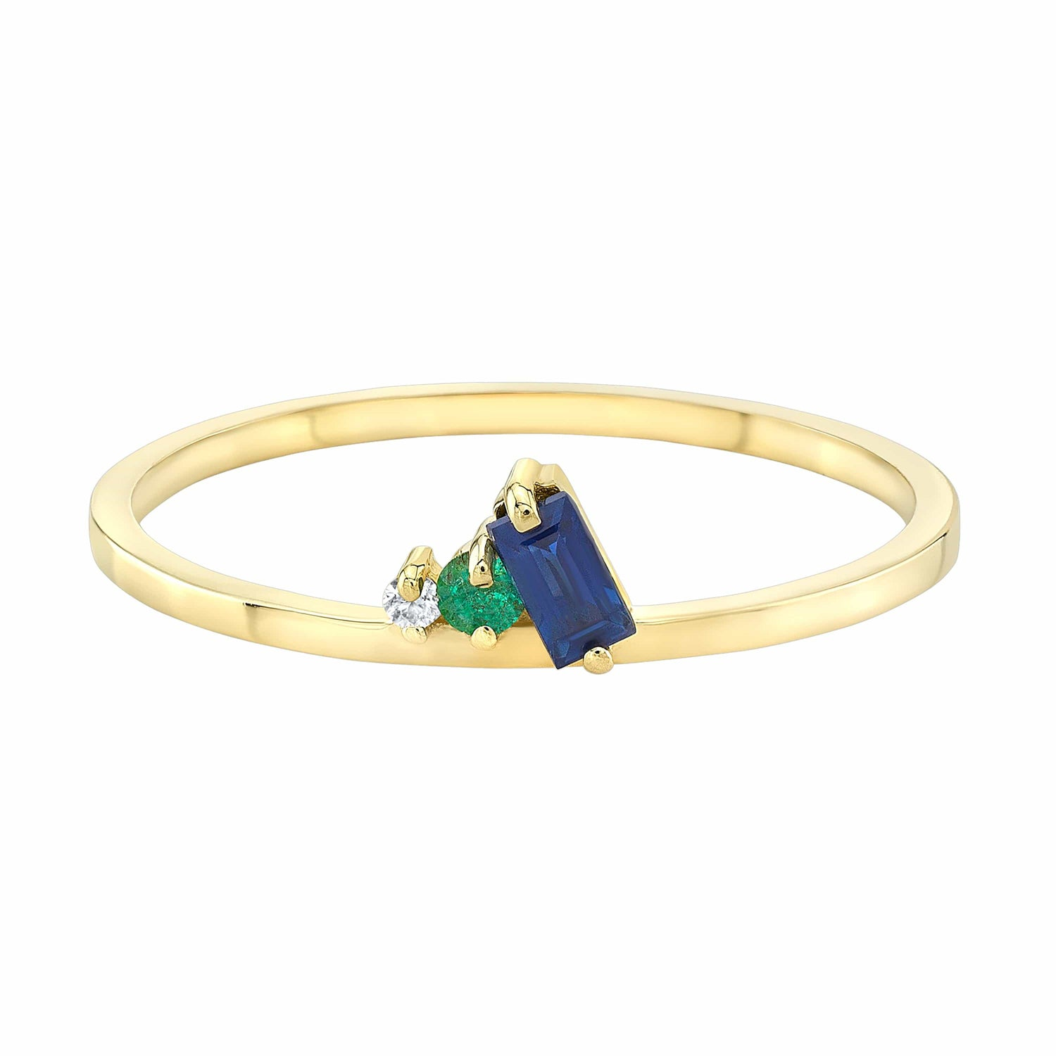 Sapphire Emerald Diamond Cluster Petite Yellow Gold Ring