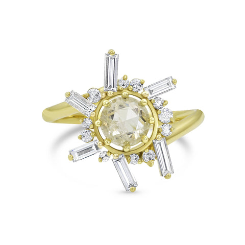 Diamond Sun Open Circle Yellow Gold Ring