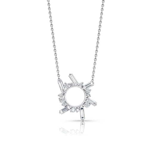 Diamond Open Circle White Gold Necklace