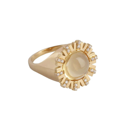 Citrine Cabochon Diamond Sun Signet Ring