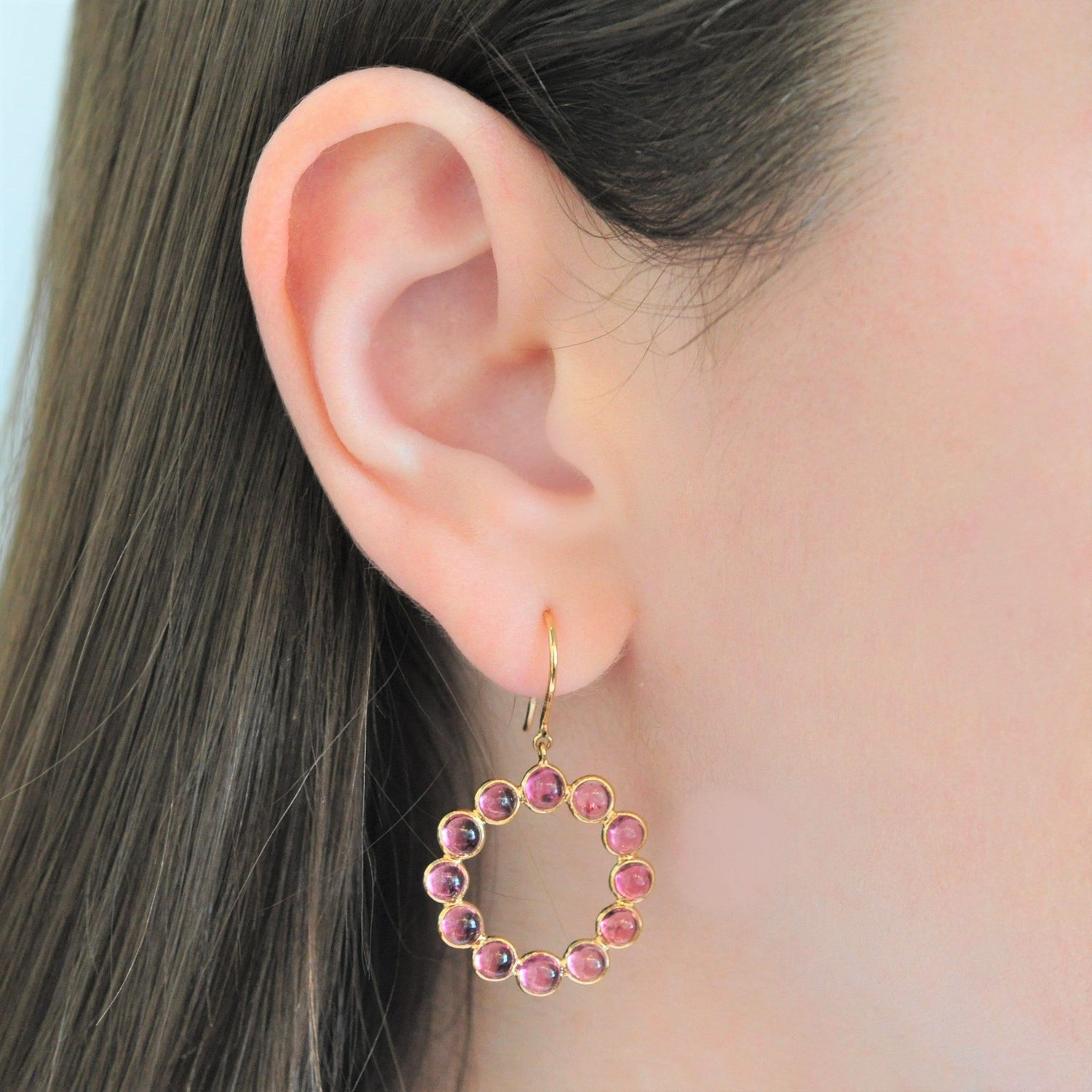 Tourmaline Cabachon Circle Dangle Earrings