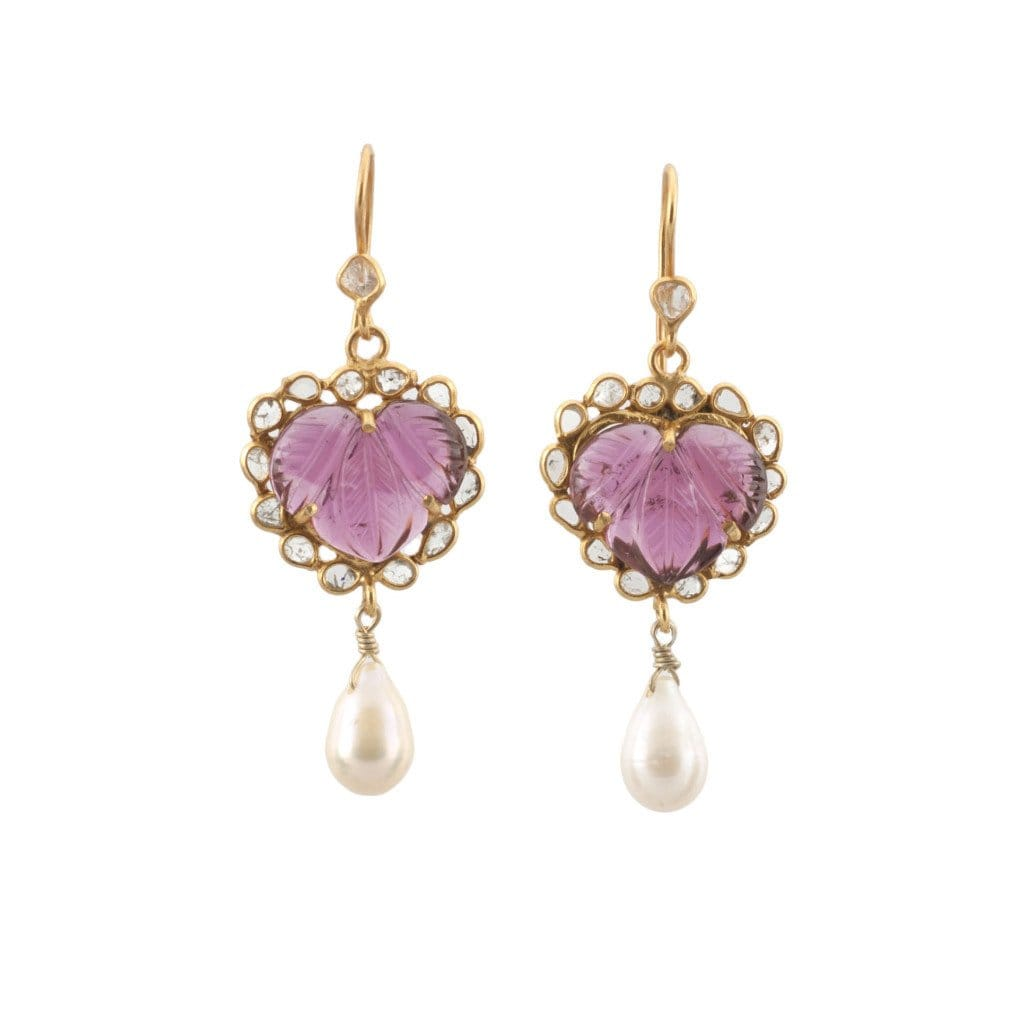 Pink Tourmaline Pearl Diamond Dangle Earrings - Curated Los Angeles