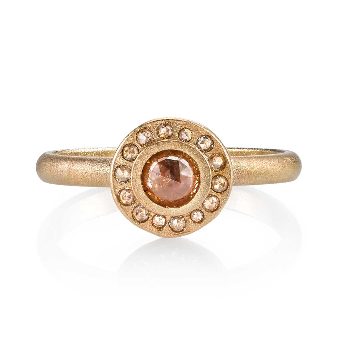 Center Rose Rustic Diamond Matte Yellow Gold Ring