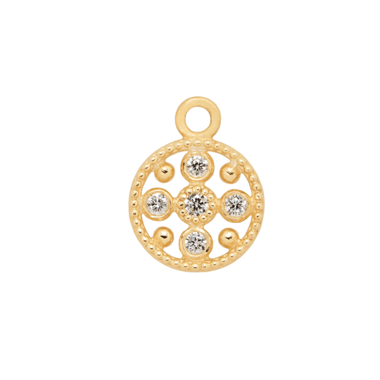 Diamond Circle Gold Hoop Charm