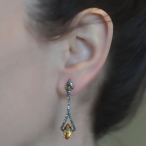 Citrine Black Rhodium Long Drop Earrings