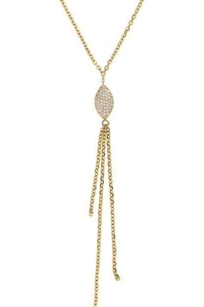 Diamond Pave Navette Triple Fringe Necklace - Curated Los Angeles
