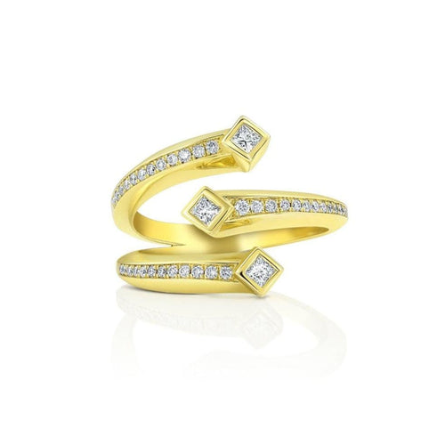 18K Diamond 3 Band Wrap Ring