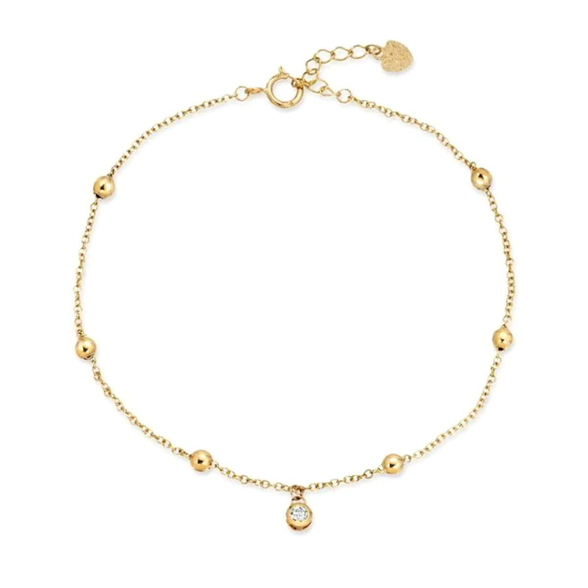 Diamond Charm Gold Bead Bracelet Letreaime