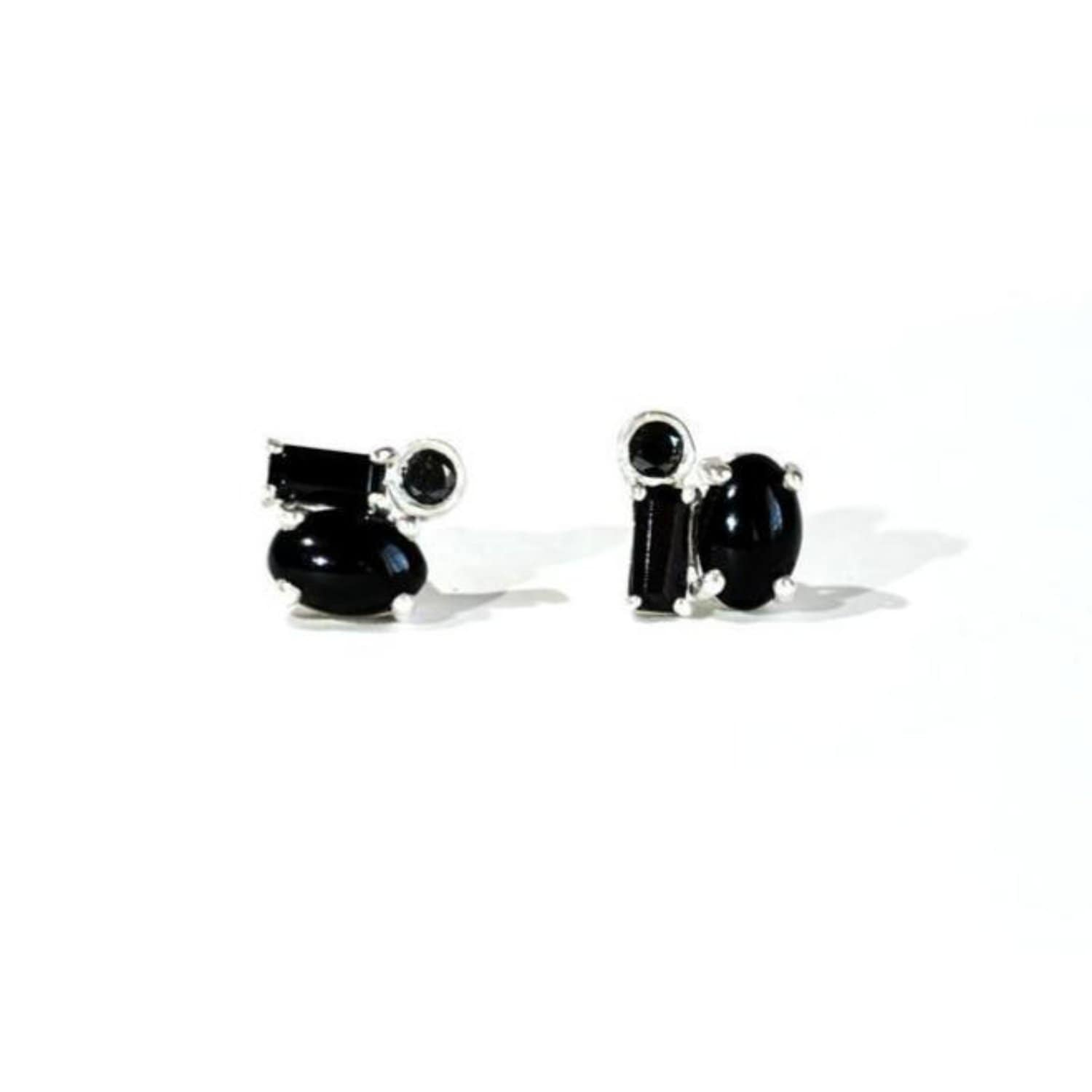 Oval Onyx and Black Diamond Baguette Silver Studs Berlinger