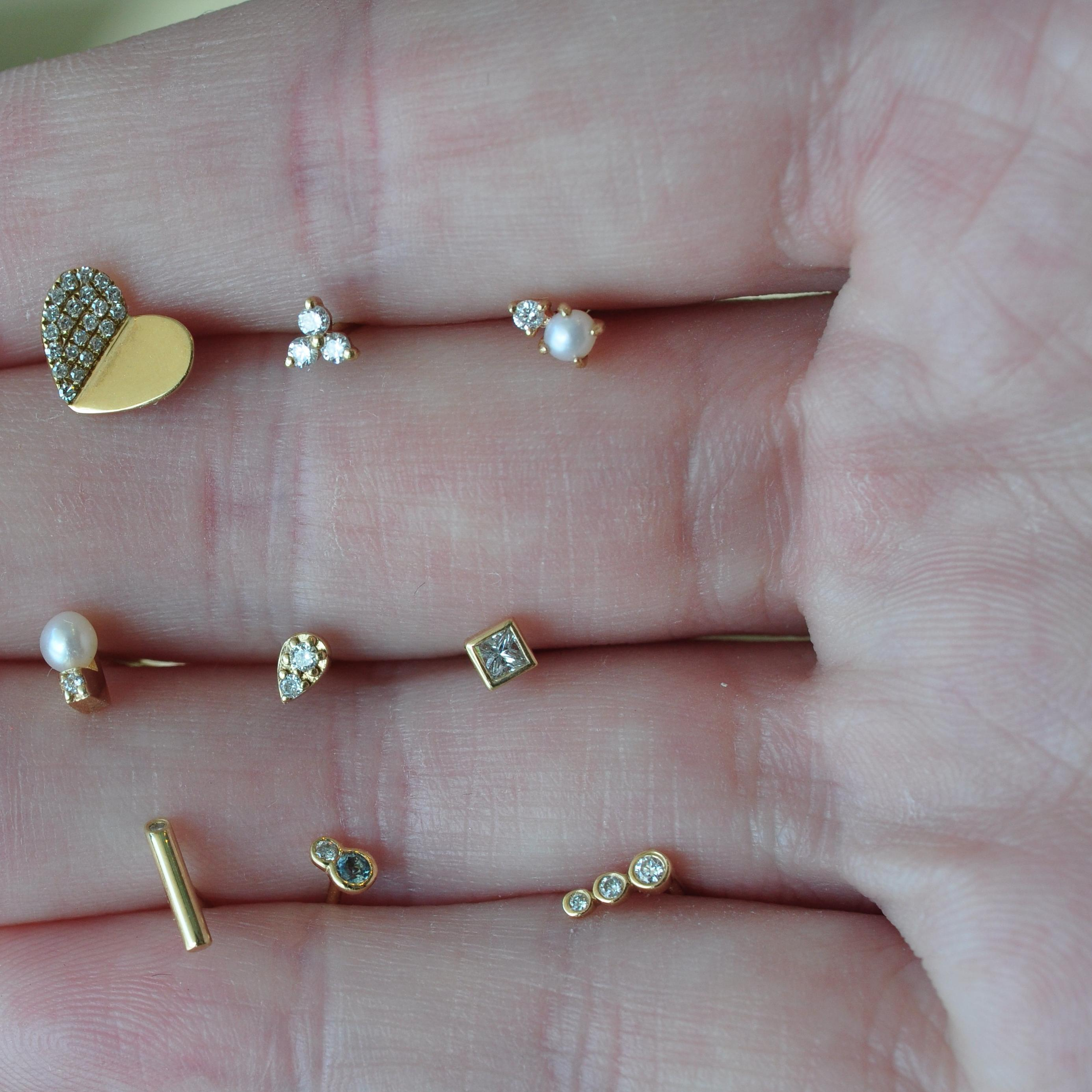 diamond gold pearl heart tear drop studs