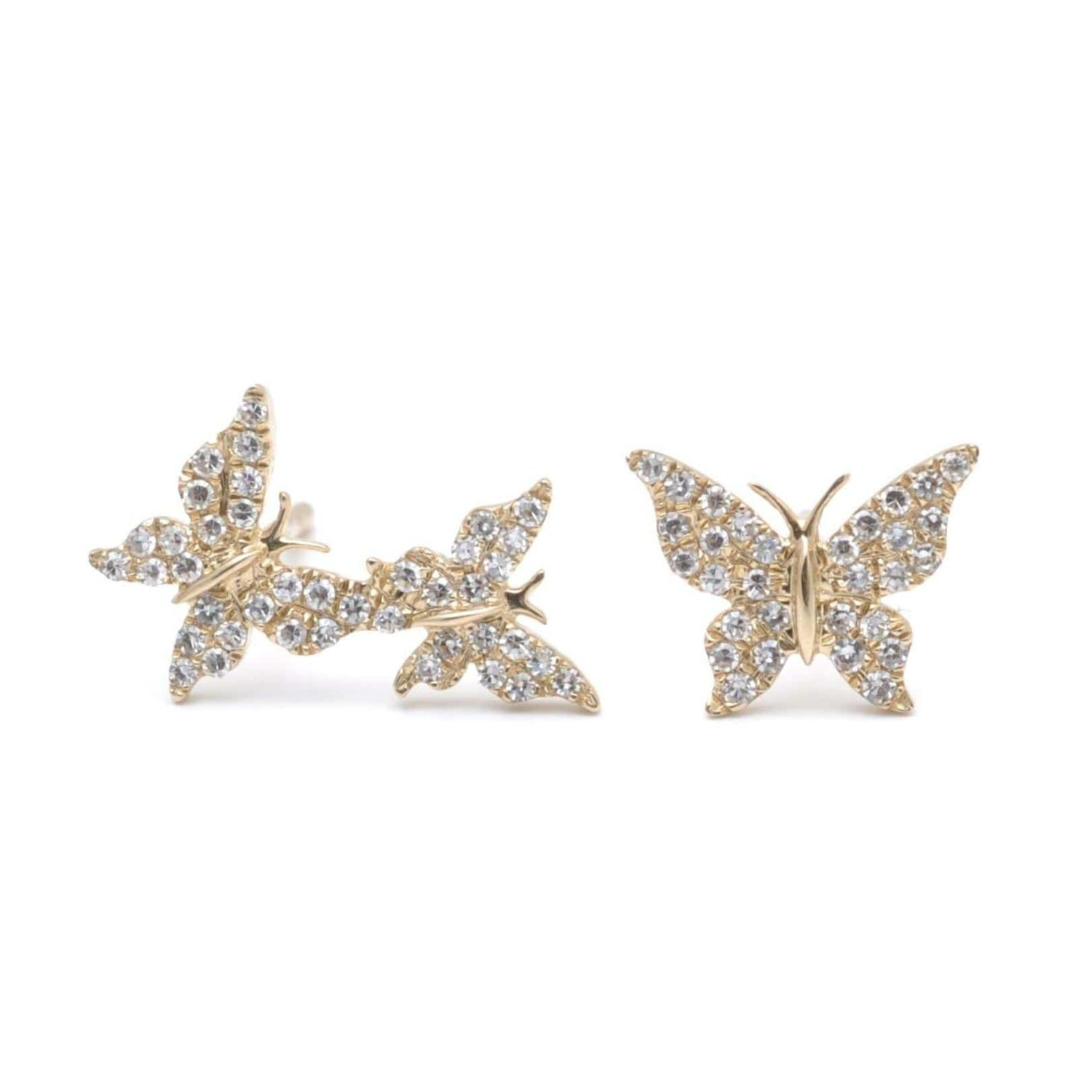 One and Two Diamond Pave Butterfly Gold Earrings