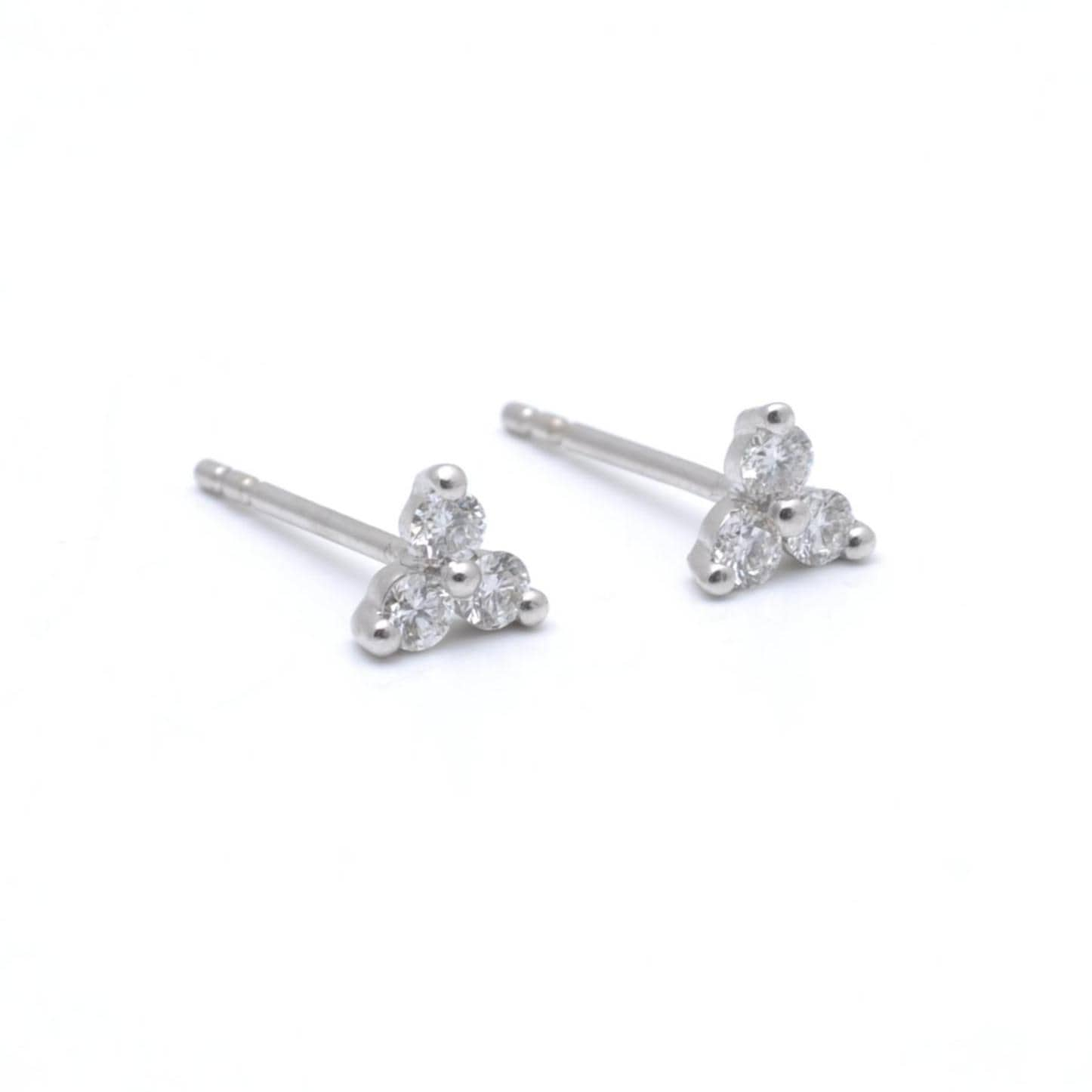 White Gold Three Diamond Cluster Studs