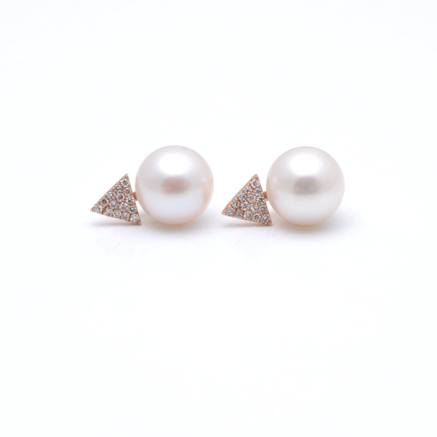 White Pearl Diamond Triangle Earrings
