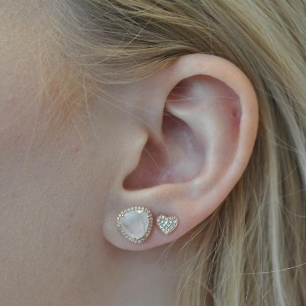 Heart Pave Diamond Stud Earrings - Curated Los Angeles