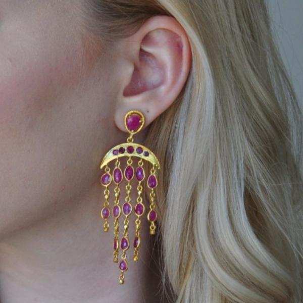 Five Drop Ruby Chandelier Earrings - Curated Los Angeles