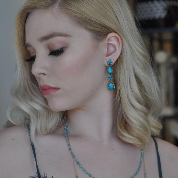 Teardrop Sleeping Beauty Turquoise and Diamond Earrings - Curated Los Angeles