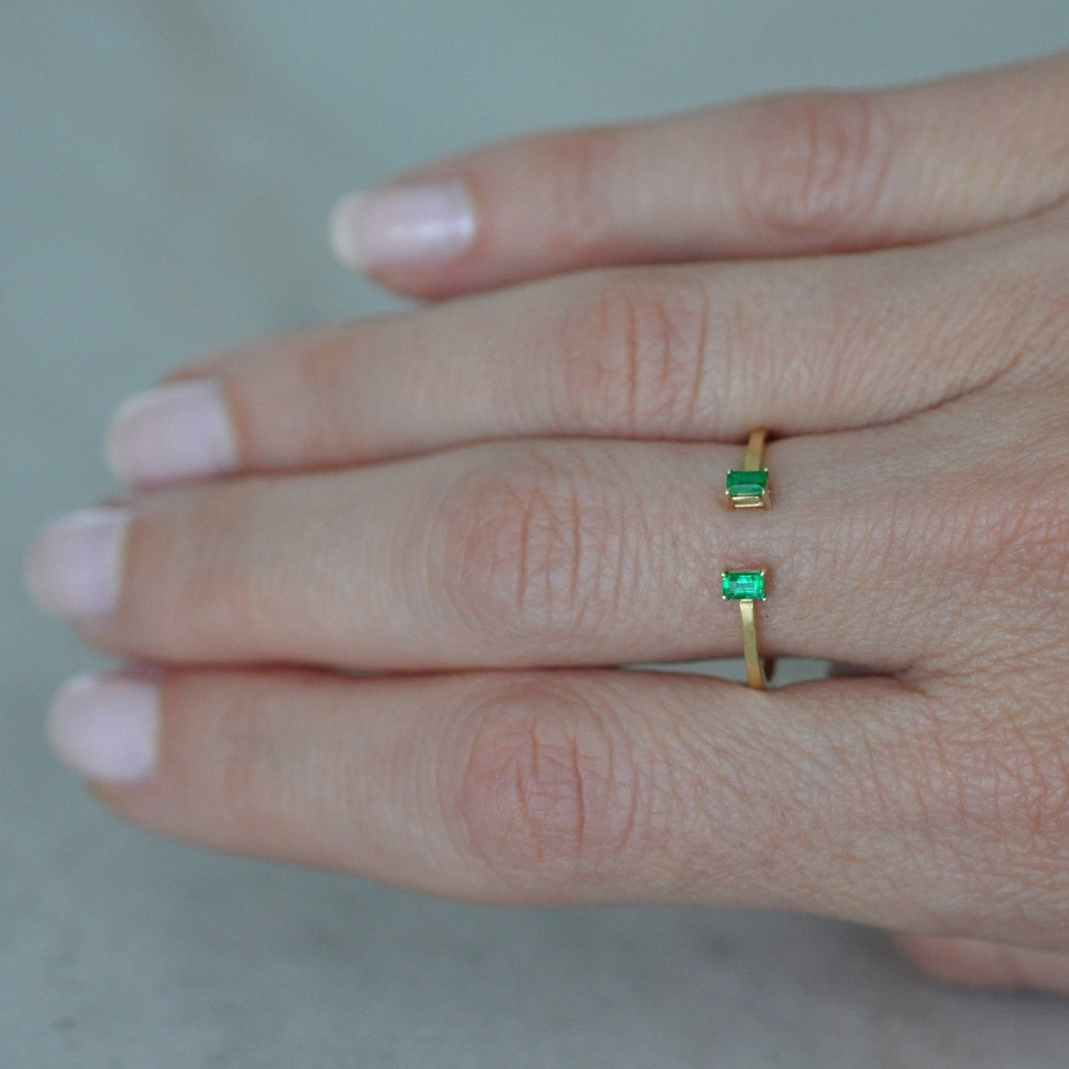 open cuff emerald baguette ring