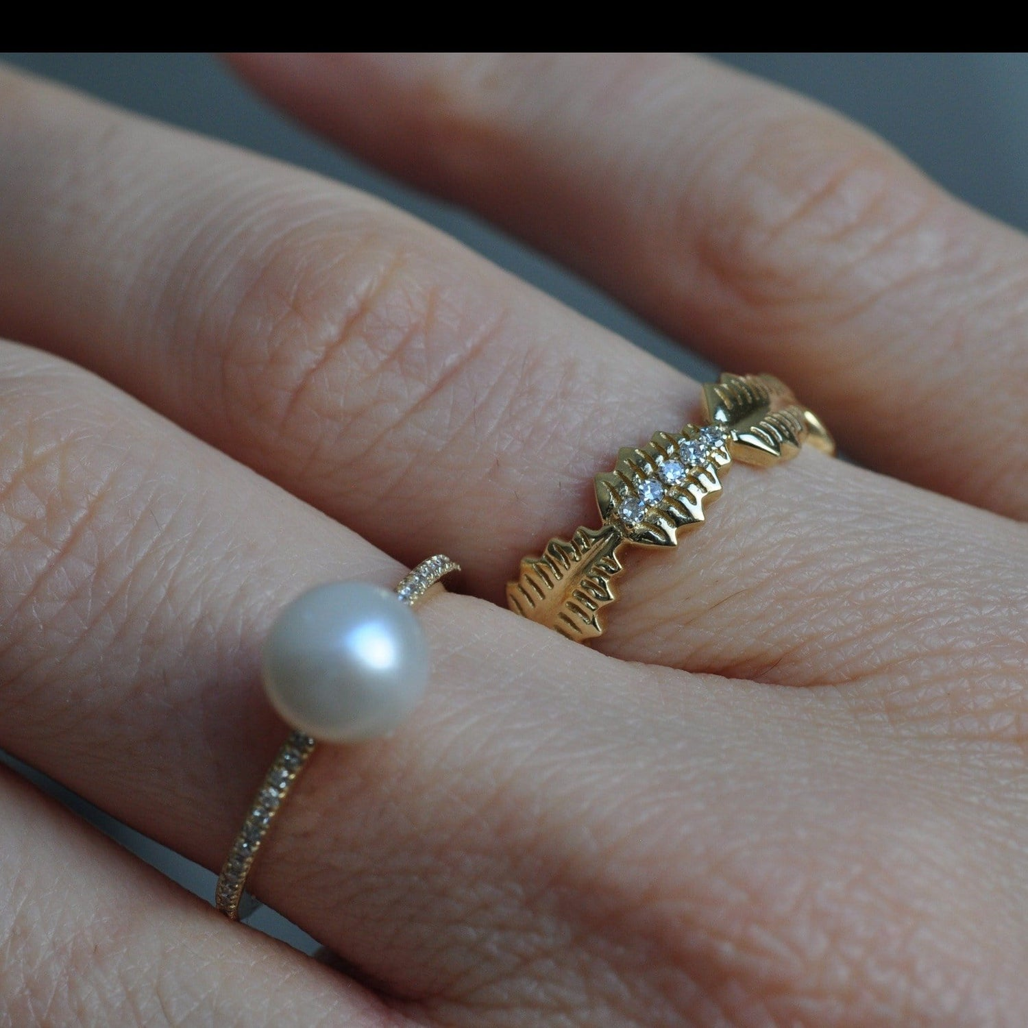 Pearl Pave Diamond 14K Ring