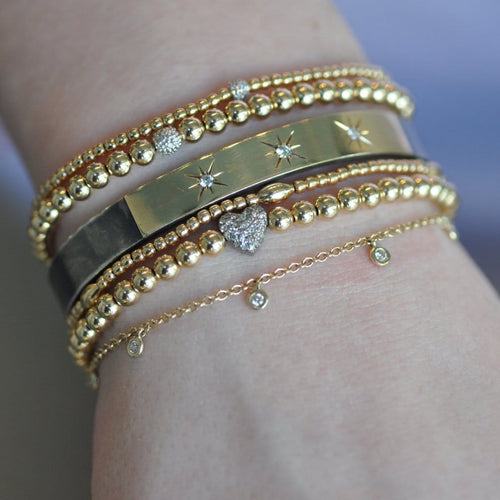Diamond Heart Oxidized Bead Layering Bracelet - Curated Los Angeles