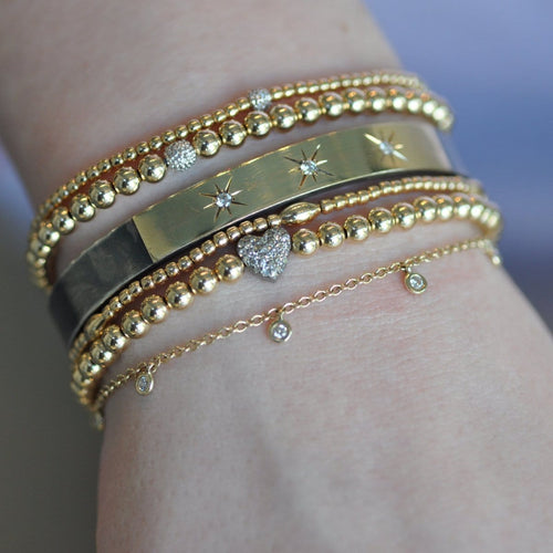 Gold and Diamond Beaded Layered Bracelets