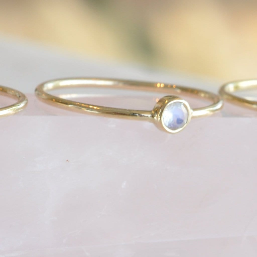 Moonstone Solitaire Yellow Gold Bezel Ring - Curated Los Angeles