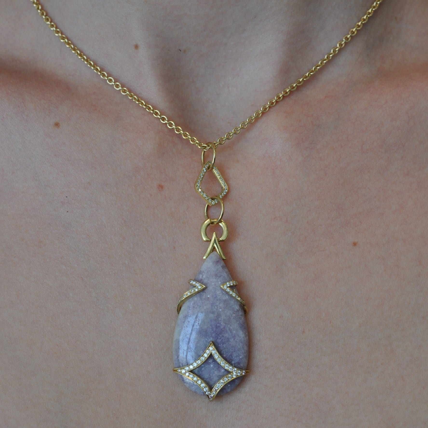 Lavender Lepidolite Diamond Drop Pendant Necklace - Curated Los Angeles