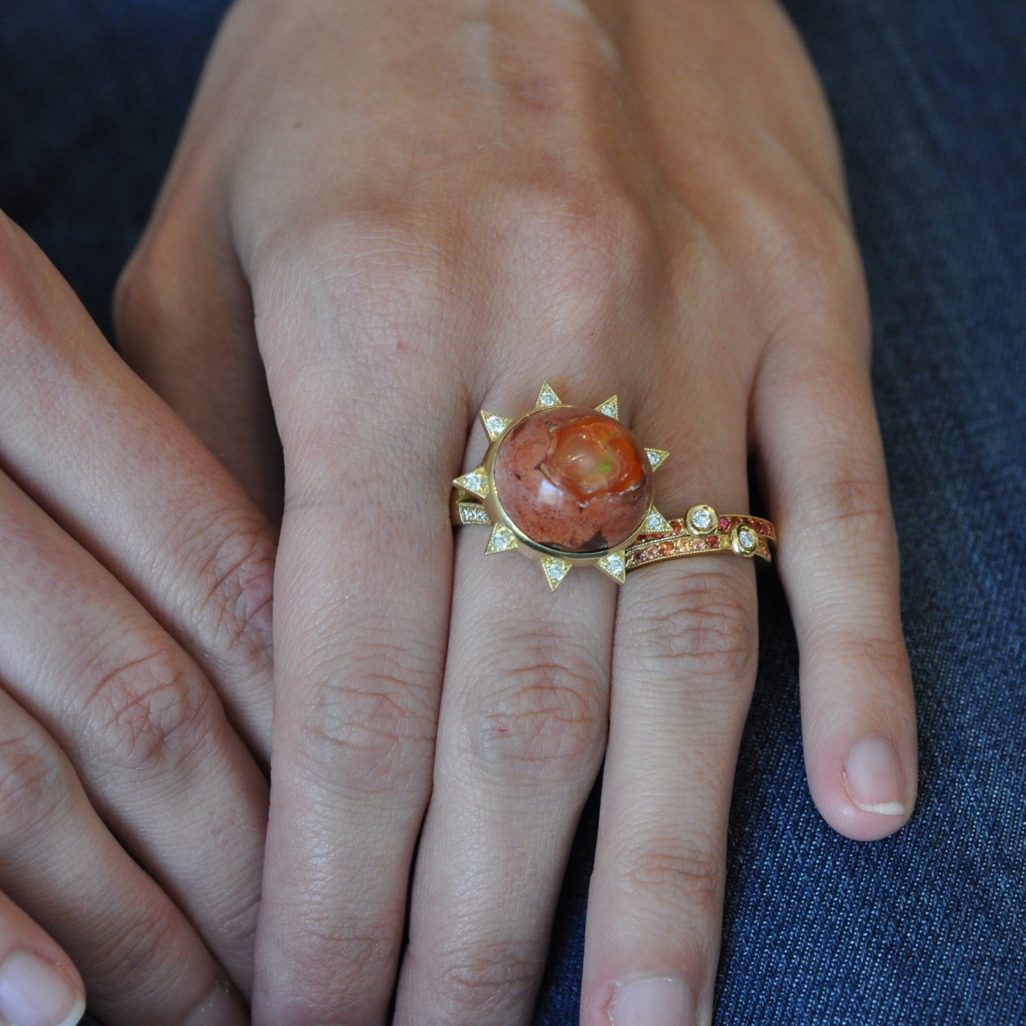 Fire Opal Diamond Starburst Cocktail Ring - Curated Los Angeles