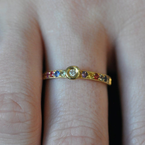 Multi-color Sapphire Yellow Gold Stacking Ring - Curated Los Angeles