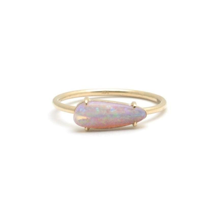 Horizontal Opal Yellow Gold Stacking Ring - Curated Los Angeles