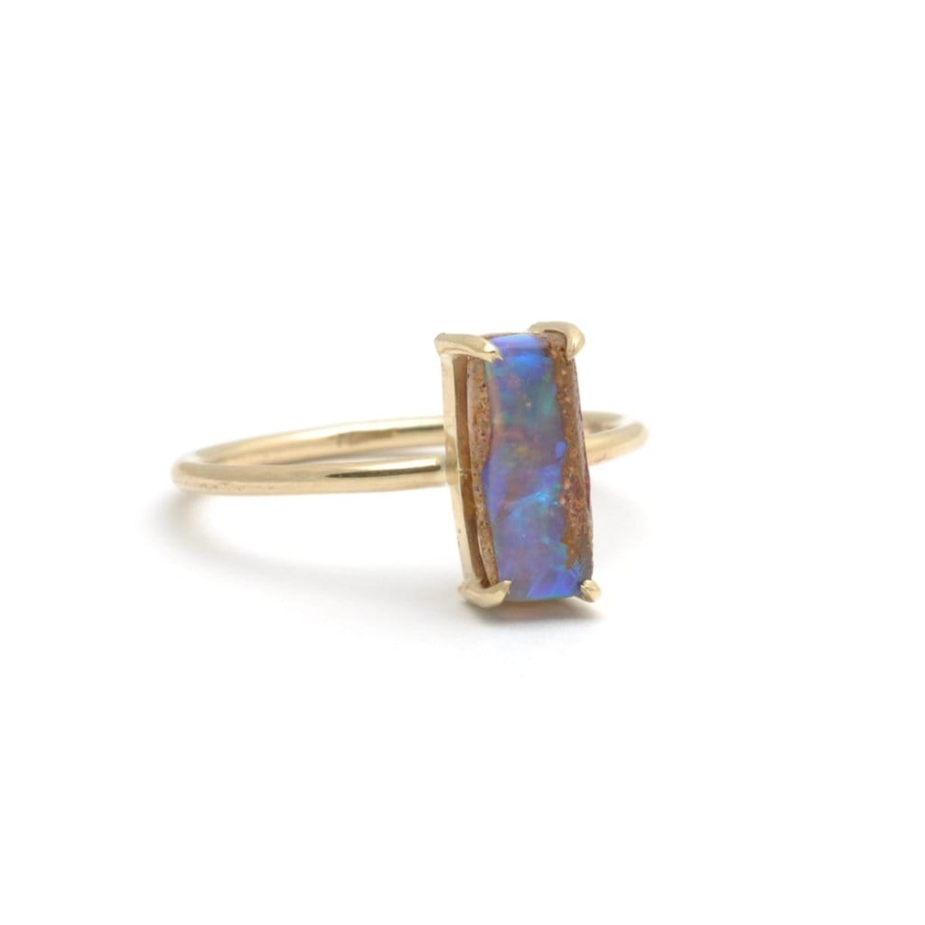 Verical Opal Yellow Gold Stacking Ring - Curated Los Angeles